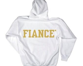 Fiance Pullover oversized hoodie- White / Gold ink- Fiance' Sweatshirt - writing on BACKSIDE