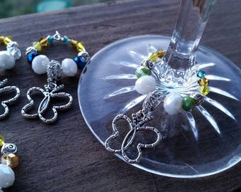 8 Butterfly Themed Crystal Beaded Wine Glass Ring Charms - Coffee Cup Handle Charms - Place Holders - Party Accessories - Wedding Party