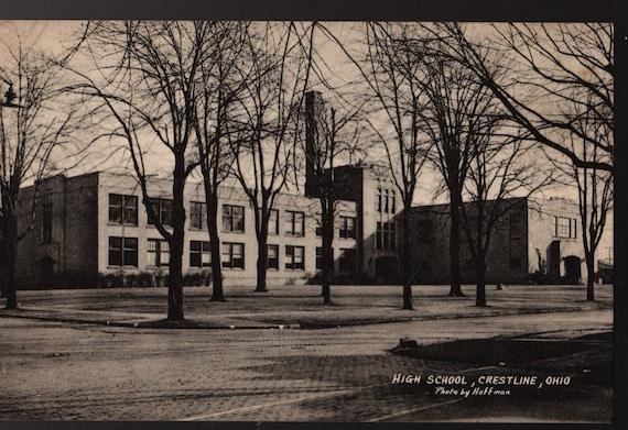 High School + Crestline, Ohio + Hoffman + Vintage Photo Postcard