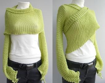 Hand knitted Long  Sleeve Pistachio Green Bolero - Shrug- Shawl - Neckwarmer - Christmas Gift - Gift for her