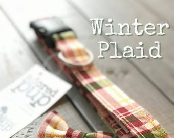 Winter Plaid DOG COLLARS, Dog Collars, The Winter Plaid, Plaid Dog Collar, Boy Dog Collars, Girl Dog Collar, Boy Dog Collar,  Winter Collars