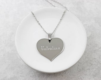 Personalized Heart Necklace - Valentines Day Gift For Her - Engraved Heart Necklace - Name Necklace - Silver Heart Necklace - Gift For Women