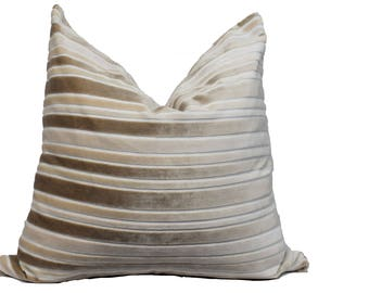 Tan Velvet Striped Pillow