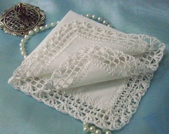 Lace handkerchief, Lace hanky, Lace hankie, Crochet, Embroidered , Personalized, Ready to ship