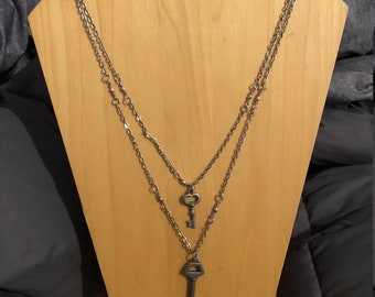 Layered silver key necklace