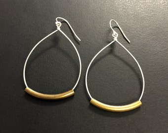 Hoop Earrings - Rustic Hoop Teardrop Earrings - Mixed Metal Earrings - Silver Metal Earrings