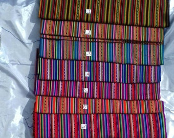 Stripy Peruvian Fabric by the metre - SMALL orders - shipped from UK