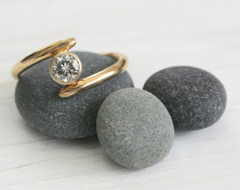 Moissanite Engagement Ring in 14k Yellow Gold, asymmetrical band, conflict free Eco Friendly recycled gold