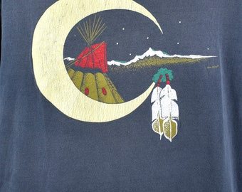 Tee Pee Moon T-Shirt, Size XL, 100% Cotton, Made in the USA