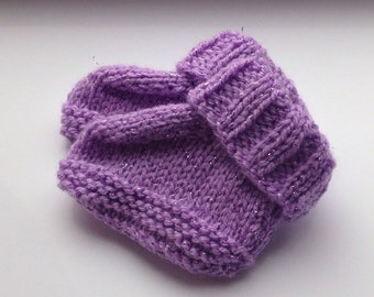 Hand Knit Sparkly Booties in Purple - 0-3 Months
