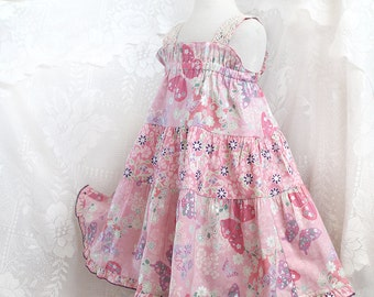Toddler Party Dress Toddler Girl Clothes Toddler Dress Little Girl Pink Dress Butterfly Birthday Outfit Cotton Toddler Twirl Dress 2T 3T 4T