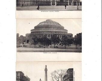 Early 1900's Set of 3 Antique Postcards of London England Scenes, Buckingham Palace, Duke of York Column, Albert Hall, UNPOSTED, Ephemera