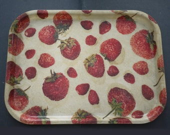 Vintage french Fiberglass Serving Tray Strawberry Resin Strawberry Cocktail Tray Circa 1950s