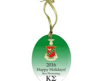 Kappa Sigma Holiday Color Crest Glass Ornament