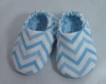 Baby Booties - Blue Chevron Flannel - Tiny Stars Lining - Boys' Booties / Slippers / Footies / Moccasins - Zig Zag Print Fabric - Baby Gifts
