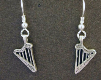 Sterling Silver Harp Earrings on Heavy Sterling Silver French Wires