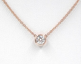 Diamond Necklace, Diamond Solitaire Necklace, Natural Brilliant Cut Bezel Diamond Necklace, Minimalist Necklace, Diamond Bezel Necklace
