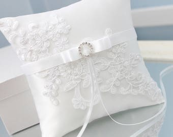white lace ring bearer pillow, white ring bearer, white wedding ring holder, white wedding ring pillow, white ring pillow, white ring holder
