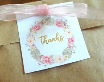 "Thank You Tags - Gift Tags - Real Gold Foil Thank You Tags - Gold Gift Tags - Floral Gift Tags, 2""x2"" Set of 10"