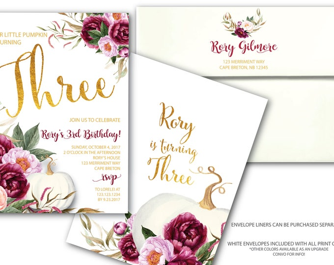 Pumpkin Birthday Invitation // Fall Birthday // Any Age // Gold // Burgundy // Floral // Watercolor // Autumn // CARMEL COLLECTION