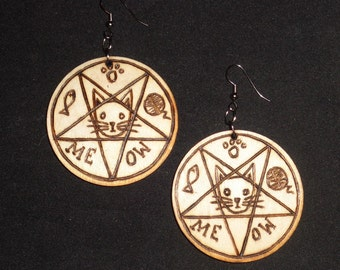 Meowphomet Cat Pentagram Earrings (Pyrography) You Pick the Color, Free US Shipping