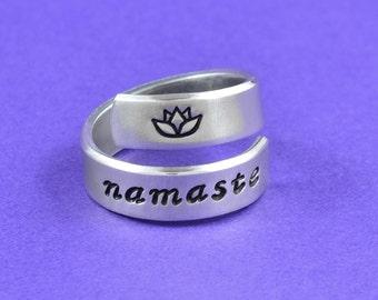 namaste - Hand Stamped Aluminum Spiral Ring, Mantra Yoga Ring, Lotus Flower Ring, Inspirational Ring