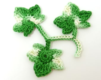 Crochet applique, 3 bright green applique ivy leaves, cardmaking, scrapbooking, appliques, handmade, sew on patches embellishments