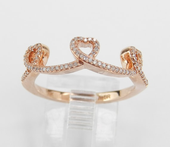 Rose Pink Gold Diamond Heart Wedding Ring Stackable Anniversary Band Size 7