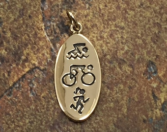 Swim Bike Run Charm, Triathlete Charm, Athlete Charm, Exercise Charm, Bronze Charm