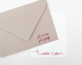 Put me on your fridge stamp - invitation to follow stamp - invitation stamp - wedding save the date stamps - wedding stamp