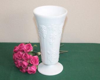 Milk Glass Pedestal Vase Harvest Grape Design
