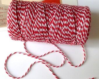 Red & White Baker's Twine 1.5mm striped string / packaging 10 metres / 90m / 180m bulk