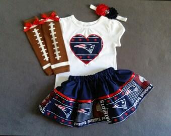 NEW ENGLAND PATRIOTS inspired baby girl 4 piece outfit. skirt, shirt, headband, leg warmers.