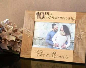 Anniversary Gifts for Couple. Milestone Anniversary Personalized Gift for Him. Engraved Photo Frame Wood.
