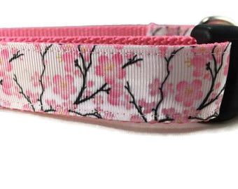 Dog Collar, Cherry Blossom, 1 inch wide, adjustable, quick release, metal buckle, chain, martingale, hybrid, nylon