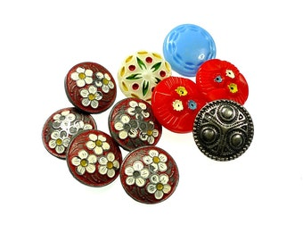 old sewing box buttons lot