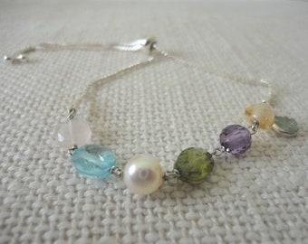 silver bracelet with stones, slide bracelet, Slider Bracelet silver, semiprecious bracelet, multi gem bracelet silver, fashion bracelet