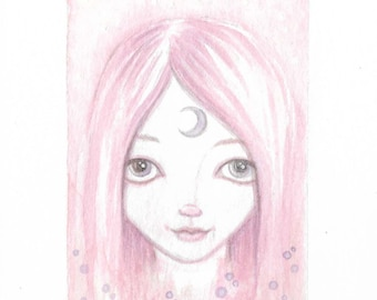Miniature original watercolour painting ~ pink haired moon goddess, big eye, lowbrow art