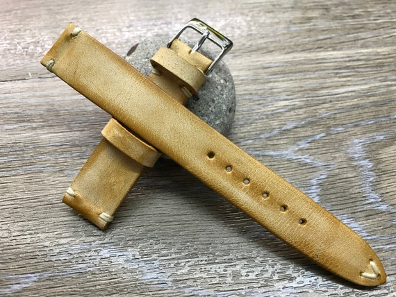 Leather Watch Strap, Leather Watch Band, Vintage Beige watch strap, Vintage watch band, 18mm/19mm/20mm lug watch band, FREE SHIPPING