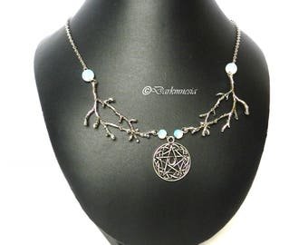 Necklace, opaline, pentacle, pentagram, moon, branch, tree, goth, gothic, witch, esoteric, wicca, pagan