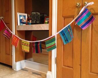 Mexican Fabric Banner -  Squares Bunting - Fiesta Wall Decor - Wall Hanging - Rustic Nursery - Wedding Garland - Children Cinco de Mayo