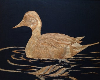 Duck Handmade with rice straw. Ducks unlimited Have you seen ancient leaf art, no color added to original leaves
