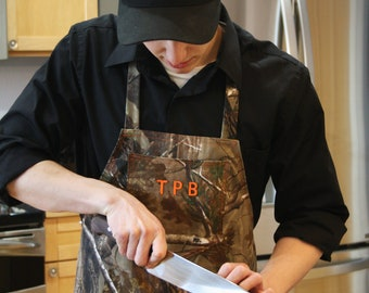 Men's Camouflage Grilling Apron, One Size, Add Initials, Made to Order