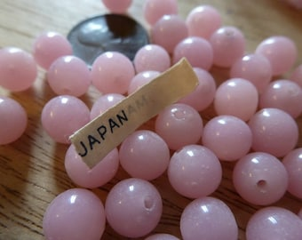 24 Vintage Japanese Pale Creamy 8mm Alabaster Pink Glass Beads C31
