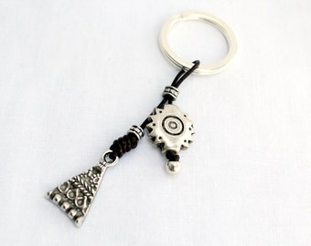 Ethnic keychain, silver and leather key fob, leather key holder, Leather tassels keychain, bag charm