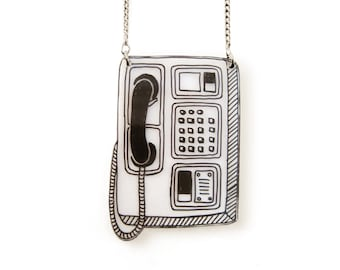 Booth Phone Necklace (Transparency), Booth Phone Jewelry, Booth Phone Jewellery, Retro Necklace, Retro Jewelry, Shrink Plastic