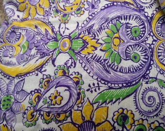 10% OFF Sale Vintage Feedsack Fabric Hippie Paisley Floral Purple & Yellow 36 x42 #mm66