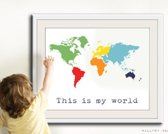 Kids playroom art etsy world map print childrens wall art kid playroom art gumiabroncs Image collections