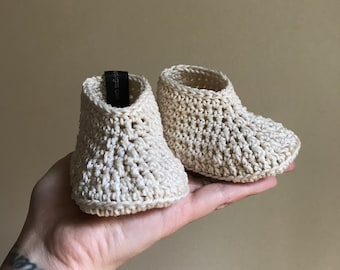 Baby Boy Booties, Baby Boy Shoes, Ivory Baby Booties, Crochet Boy Booties, Boy Baptism Shoes, Crochet Baby Booties, Ivory Booties, Boy Shoes