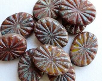 Large Burnt Orange Carved Star Burst Beads- Premium Czech Glass Beads
